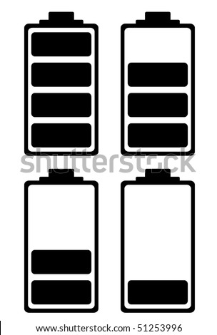 Simple battery black and white icon ideal for phone interface - stock vector