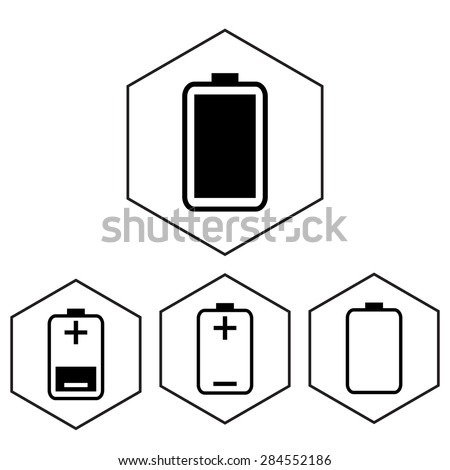 Simple battery icon with charge level. Polygon level. - stock vector