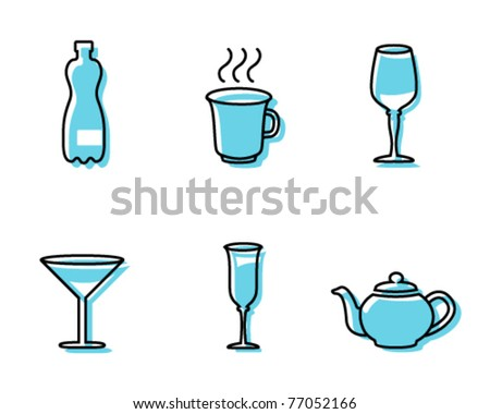 Simple beverage icons - stock vector