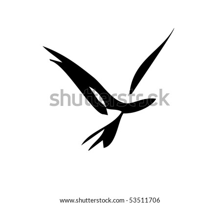 Simple bird in flight design in simple strokes.