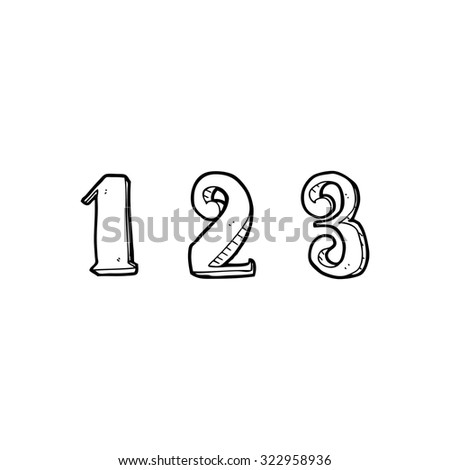 simple black and white line drawing cartoon  1 2 3 - stock vector
