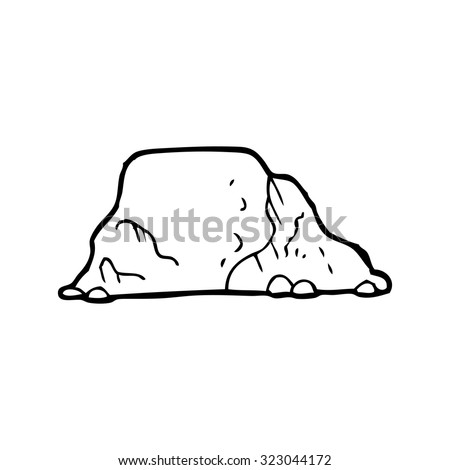 simple black and white line drawing cartoon  rock - stock vector