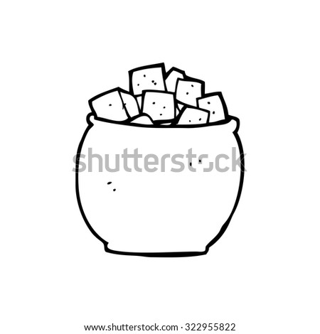 simple black and white line drawing cartoon  sugar cubes - stock vector