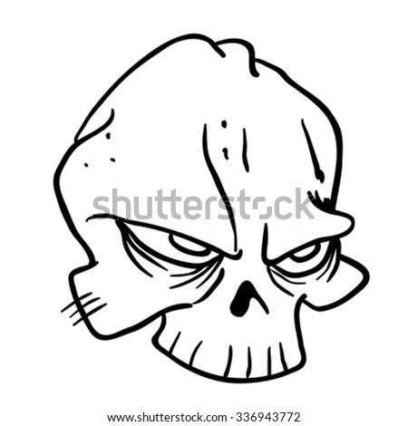 simple black and white skull cartoon - stock vector