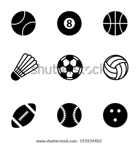 Simple black and white vector sports icons