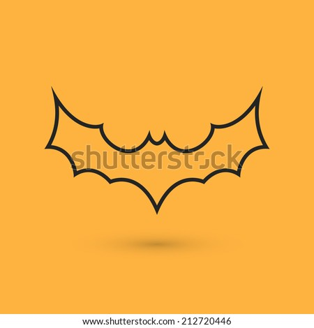 Simple black bat icon. Perfect for Halloween banners, posters and backgrounds. Vector illustration - stock vector