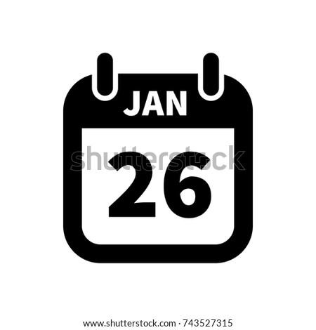 Simple Black Calendar Icon 26 January Stock Vector Hd Royalty Free
