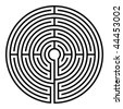 simple black circular labyrinth on white background - stock photo