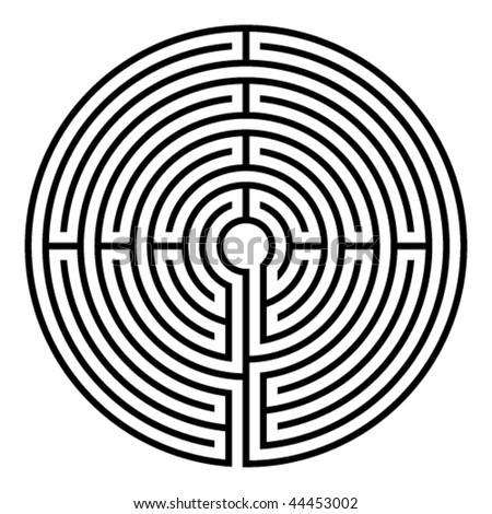 simple black circular labyrinth on white background - stock vector