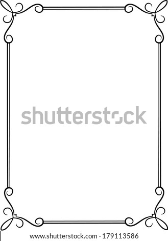 Simple black frame with decorative corners. - stock vector
