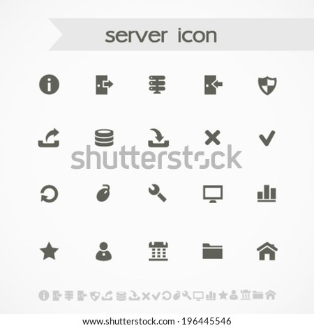 Simple black on white server icons