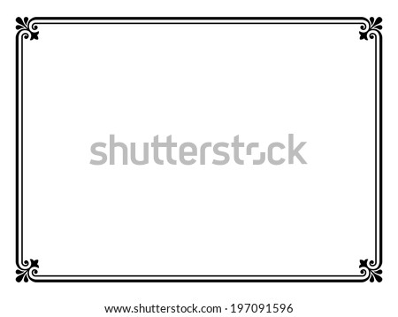 simple black ornamental decorative frame - stock vector