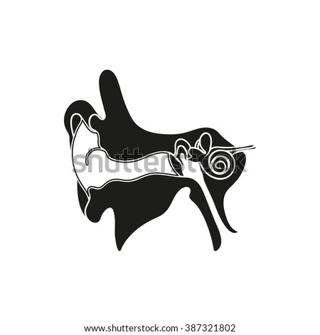 Simple black Parts or system of the Human Ear, Auricle icon on white background - stock vector