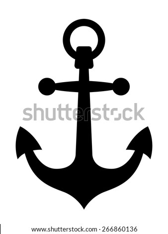 Simple black ships anchor silhouette or icon with sharp pointed flukes and a ring in the top conceptual of marine, nautical or maritime themes, vector illustration - stock vector