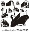 Simple black silhouettes or stamp images of logistics, supply chain items (warehouse, factory, container ship, truck, van)- cartoon vector outline / silhouette illustration set - stock photo