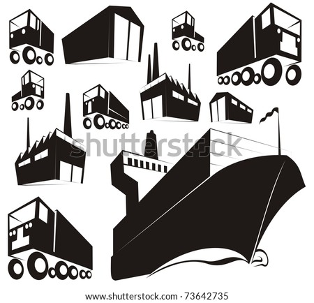 Simple black silhouettes or stamp images of logistics, supply chain items (warehouse, factory, container ship, truck, van)- cartoon vector outline / silhouette illustration set