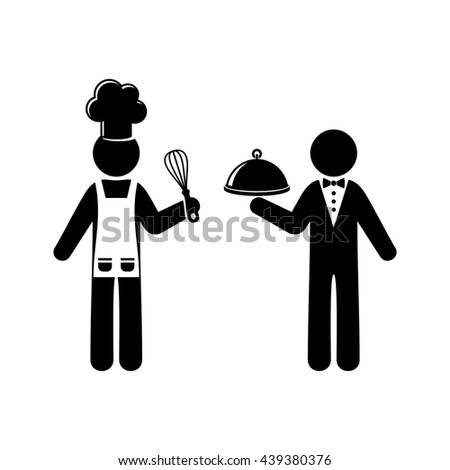 Simple black vector chef and waiter figures isolated - stock vector