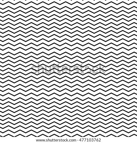 Simple Black White Chevron Line Pattern - Black zigzag vector lines on a white background, simple chevron repeat pattern.