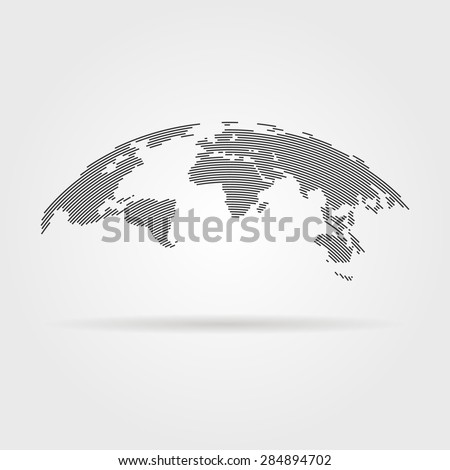 simple black world map from thin line. concept of infographics element, trip around the world, globalization. isolated on gray background. flat style trend modern logo design vector illustration - stock vector