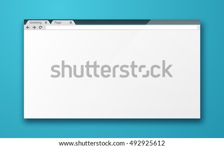 Simple blank browser window mockup. Empty internet browser screen. Web design mockup vector template.