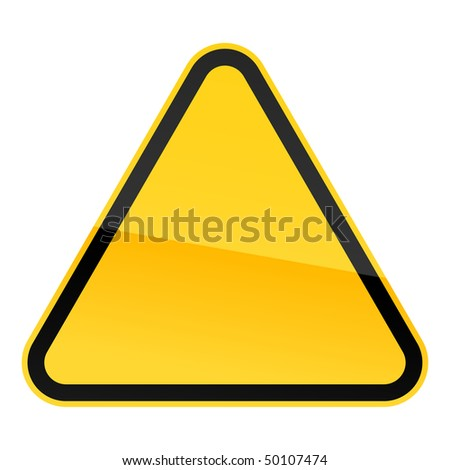 Simple blank yellow hazard warning sign on white - stock vector