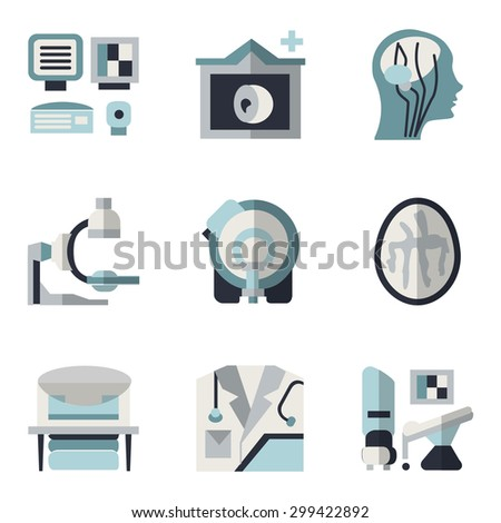 Simple blue and black color flat style vector icons for medical research. MRI, CT scan, MRI equipment, brain imaging and other elements for your website - stock vector
