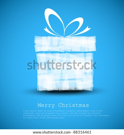 Simple blue Christmas card with a gift made from rectangles - stock vector