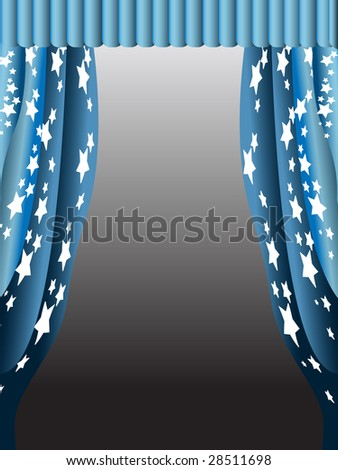 simple blue curtain with stars