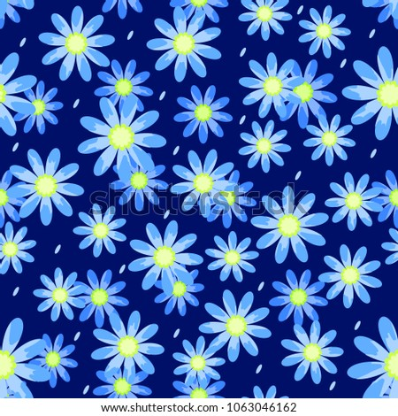 simple blue daisies on a blue background for textiles wallpapers backgrounds vector