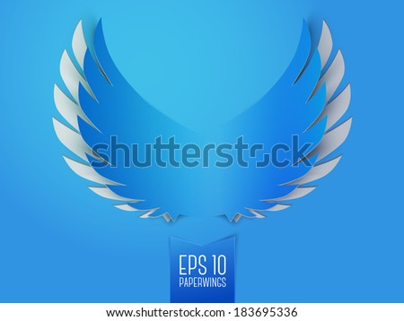 Simple blue paper wings with plumage emblem isolated vector illustration - stock vector