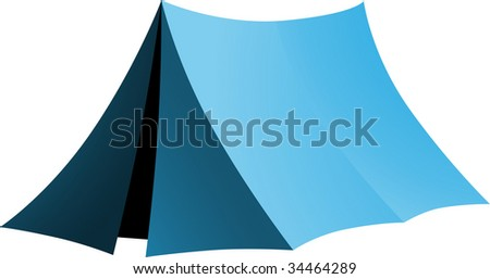 Simple blue tent - stock vector