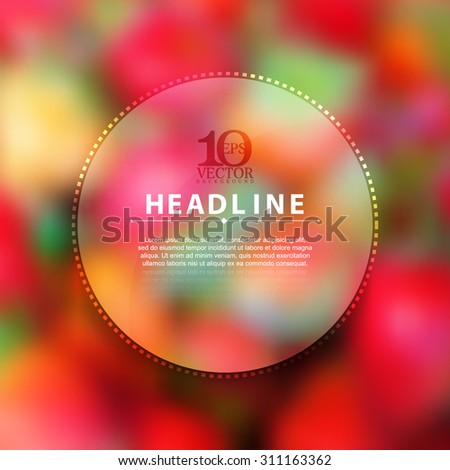 simple blurred photo realistic background blank headline brochure leaflets promotional round frame transparent illustration, eps10 vector. - stock vector