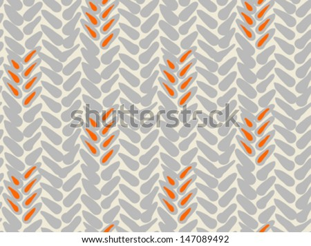 Simple bold vector pattern with wide brushstrokes in silver and orange colors. Texture in hipster style for web, print, wallpaper, fall fashion fabric, textile, website or holiday Christmas decor - stock vector