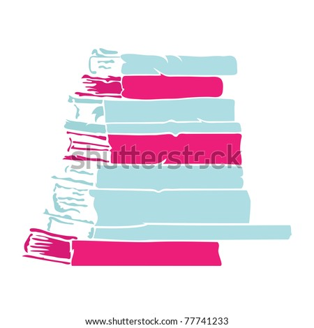 Simple book stack silhouette, vector. - stock vector