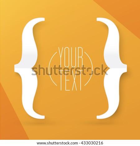 Simple Brackets Symbol Vector Design on an Orange Background for Your Newsletter - stock vector
