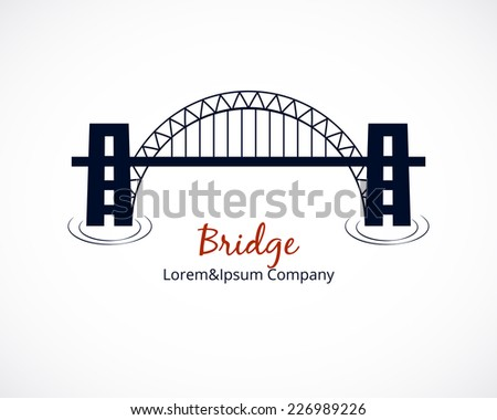 Simple Bridge Logo Graphic Design with Editable Text Area  Isolated on White Background - stock vector