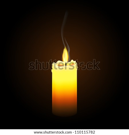 Simple Burning Candle - stock vector