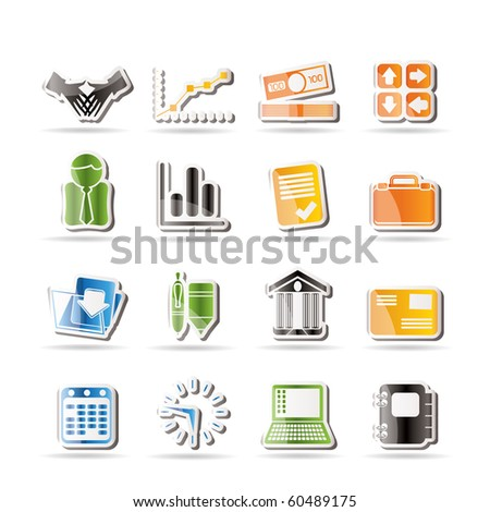 Simple Business and Office icons - Vector Icon Set - stock vector