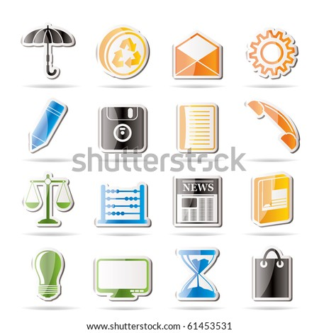 Simple Business and Office internet Icons - Vector icon Set - stock vector