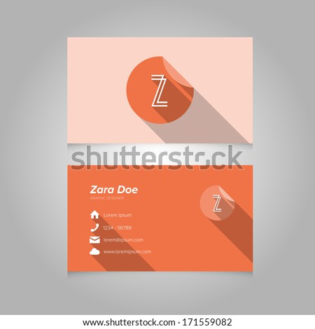 Simple Business Card Template with Alphabet Letter Z - Flat Design - Vector Illustration - stock vector