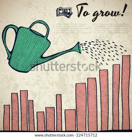 Simple business doodles - watering can illustration grow your indicators - stock vector