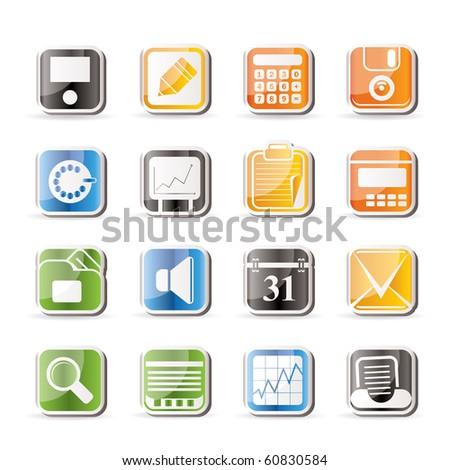 Simple Business, Office and Finance Icons - Vector Icon Set - stock vector
