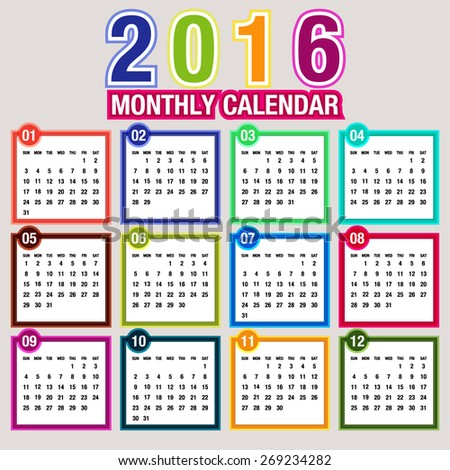 simple 2016 calendar 2016 calendar design stock vector royalty free
