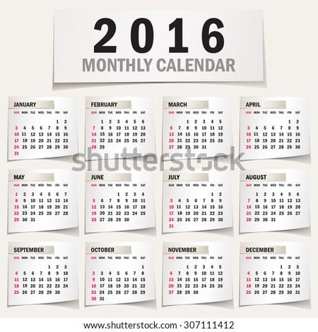 simple 2016 calendar 2016 calendar design stock photo photo vector