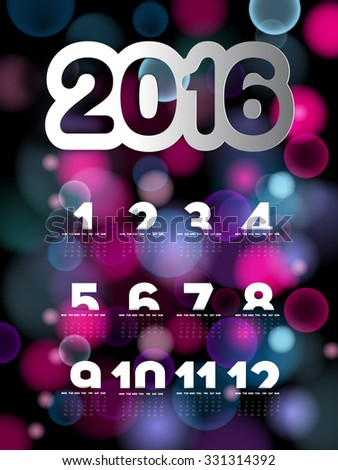 Simple 2016 Calendar, 2016 calendar on blurred bokeh background, week starts with Sunday - stock vector