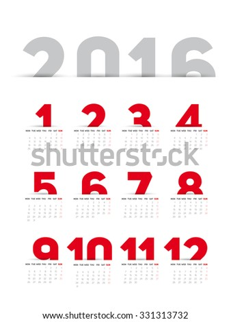 Simple 2016 Calendar, 2016 calendar paper design, week starts with Sunday - stock vector