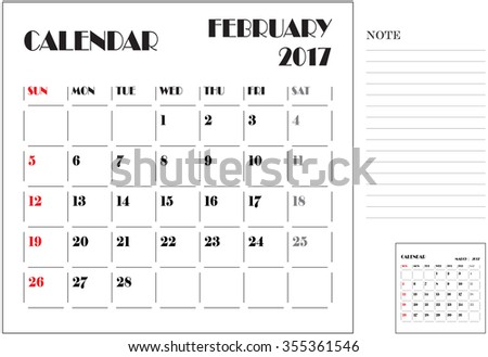 simple 2017 calendar, 2017 calendar paper design, week starts with sunday, February - stock vector