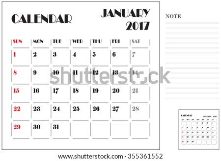 simple 2017 calendar, 2017 calendar paper design, week starts with Sunday, January