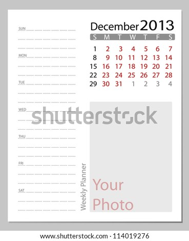 Simple 2013 calendar, December. All elements are layered separately in vector file. Easy editable.