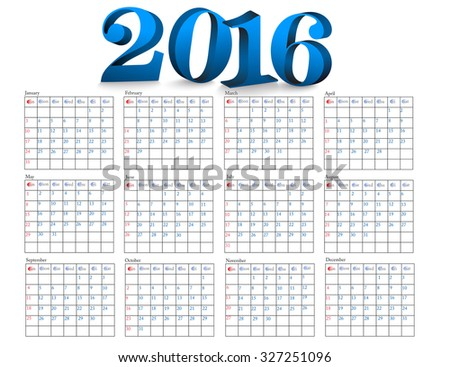 Simple 2016 Calendar  design  horizontal - week starts with sunday.eps 10